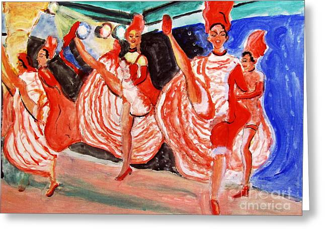 Famous French Cancan Greeting Card by Stanley Morganstein