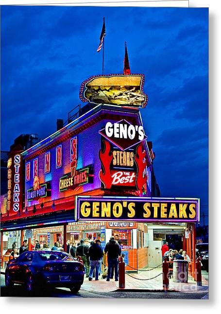 Pa Greeting Cards - Famous Genos Steaks Greeting Card by John Greim