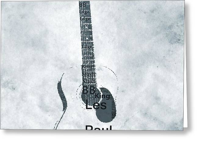 Famous Guitarists Typography Cool Greeting Card by Dan Sproul