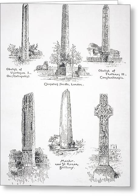 Monolith Greeting Cards - Famous Monoliths At Heliopolis London Greeting Card by Ken Welsh