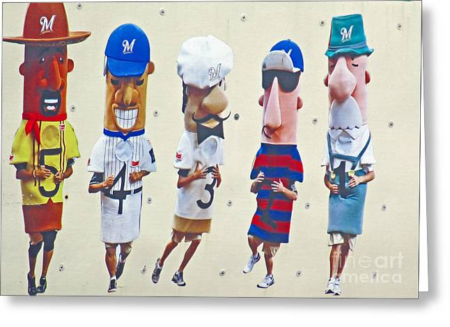 Famous Racing Sausages Greeting Card by Kay Novy