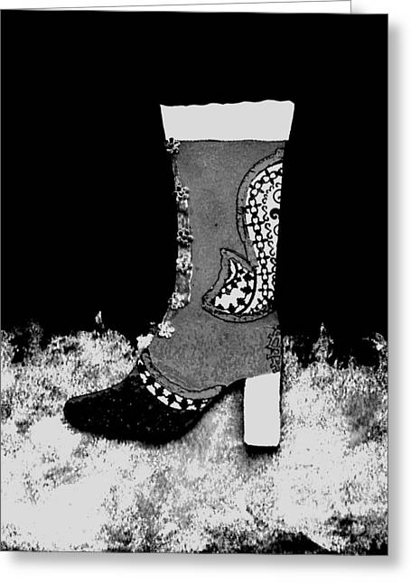 Black Boots Mixed Media Greeting Cards - Fancy Boot Black and White Greeting Card by Faith Riverstone Designs