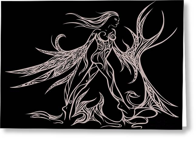 Female Fairy Abstract Greeting Cards - Fancy Flight  Greeting Card by Jamie Lynn