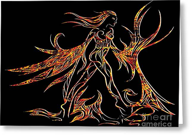 Mystic Drawings Greeting Cards - Fancy Flight On Fire Greeting Card by Jamie Lynn