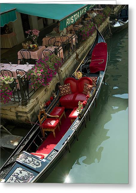 Fancy Gondola Parked In A Canal Next Greeting Card by Todd Gipstein