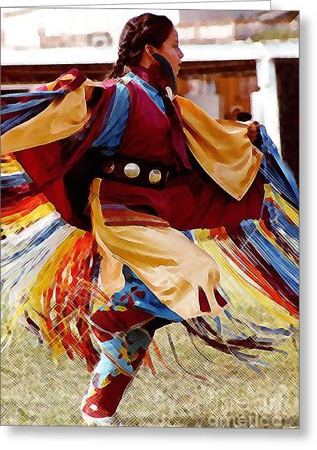 Fancy-dancer Digital Greeting Cards - Fancy Shawl Dancer Greeting Card by Terril Heilman