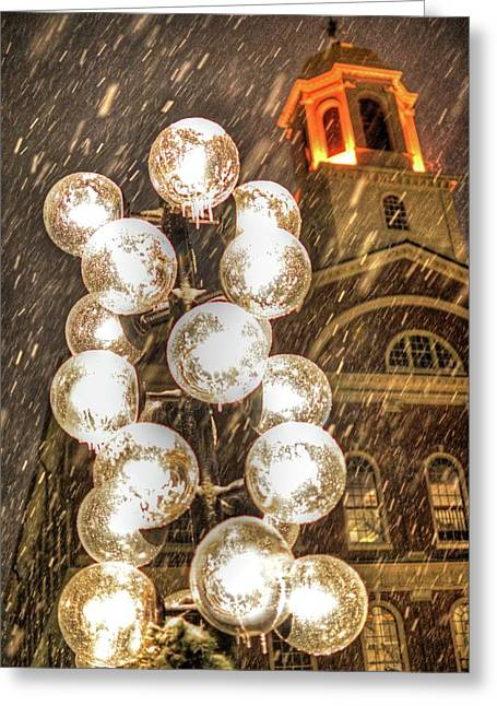 Faneuil Hall Greeting Cards - Faneuil Hall lollypop lights Boston MA Greeting Card by Toby McGuire