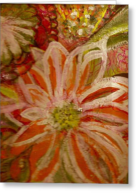 Fantasia With Orange And White Greeting Card by Anne-Elizabeth Whiteway