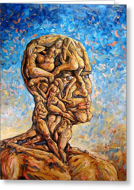 Cubist Drawings Greeting Cards - Fantasies of a 120 years old man struggling to survive Greeting Card by Darwin Leon