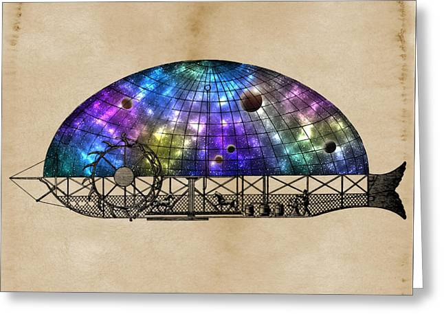 Decorative Fish Greeting Cards - Fantastic Flying Objects - Fantasy Airship nr. 7 - by Nostalgic Art Greeting Card by Nostalgic Art