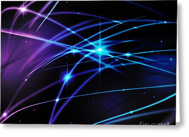 Abstract Waves Greeting Cards - Fantastic light line Greeting Card by Atiketta Sangasaeng