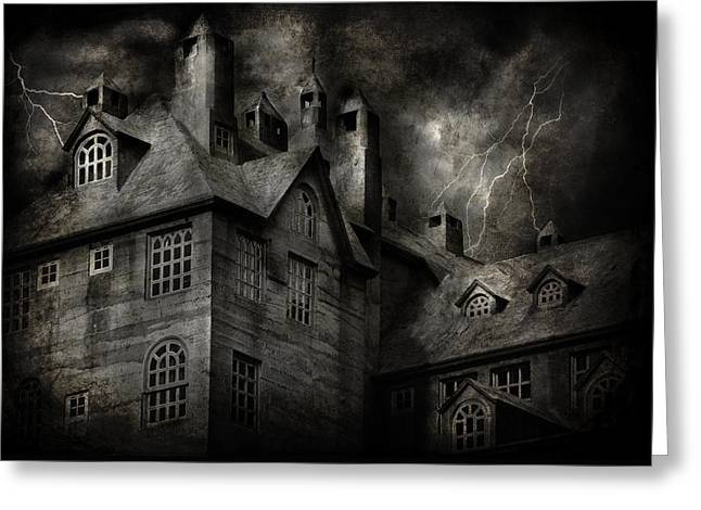 Owner Greeting Cards - Fantasy - Haunted - It was a dark and stormy night Greeting Card by Mike Savad