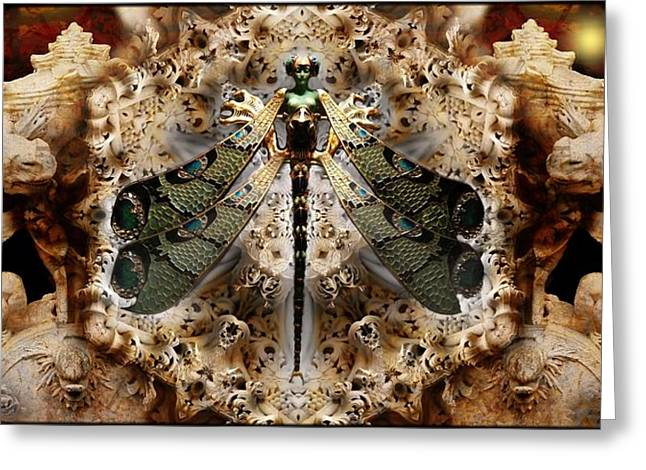 Mystic Art Greeting Cards - Fantasy And Art  Or  The Spirit Of The Dragonfly Greeting Card by Daniel  Arrhakis