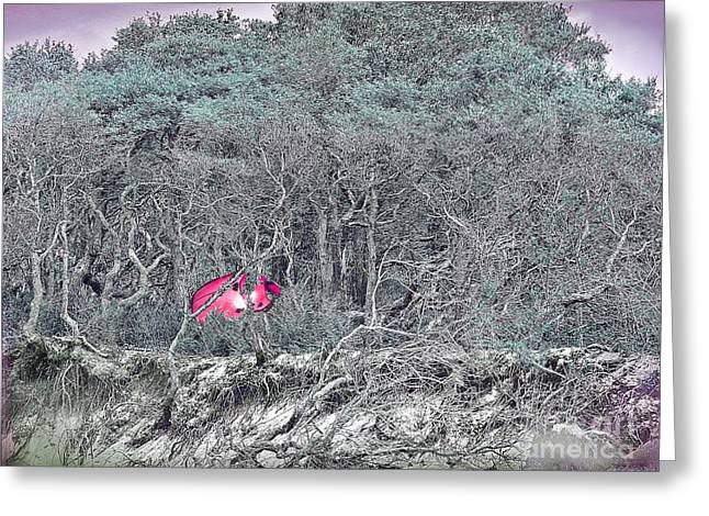 Blueberries Drawing Greeting Cards - Fantasy Art - Giant Ladybug Among Beach Brush Greeting Card by Shelly Weingart