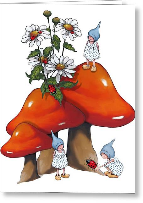 Toadstools Mixed Media Greeting Cards - Fantasy Art Gnomes and Toadtools Greeting Card by Joyce Geleynse
