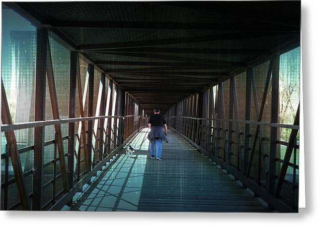 Dog Walking Greeting Cards - Fantasy Bridge Greeting Card by Deborah Kunesh