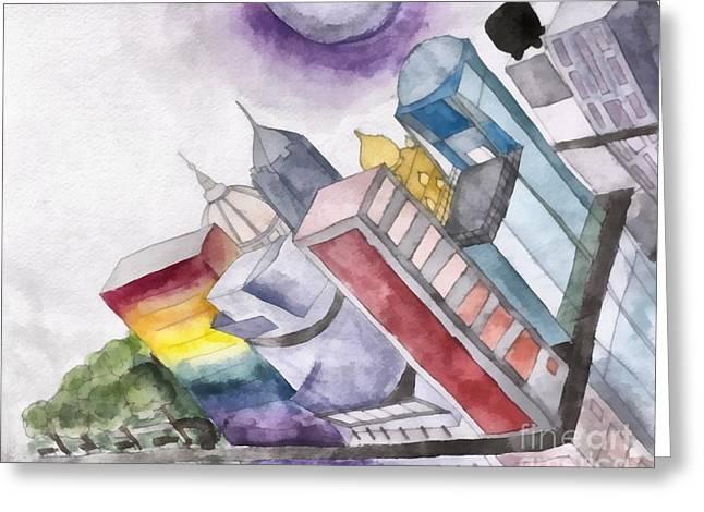 Fantasy City Watercolor Greeting Card by Caffrey Fielding Liz Rooker