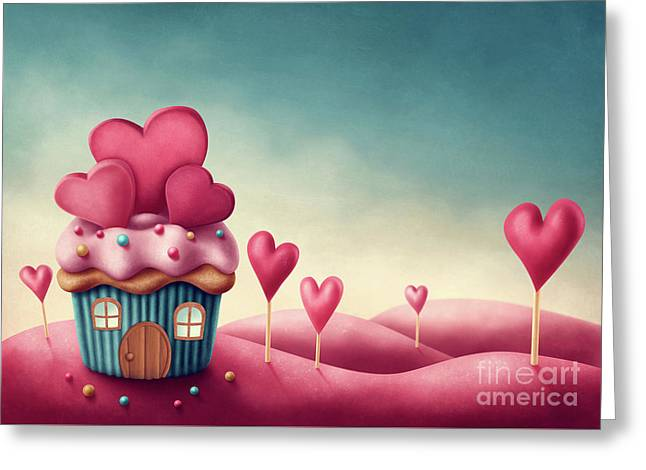 Fantasy Cup Cake House  Greeting Card by Elena Schweitzer