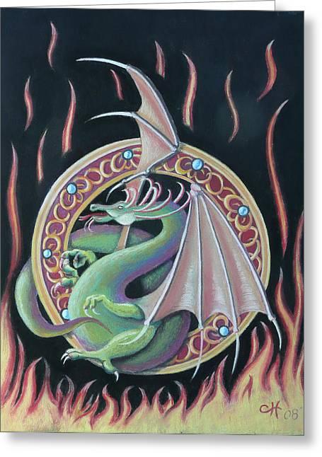 Mythology Pastels Greeting Cards - Fantasy Dragon Greeting Card by Charles Hubbard