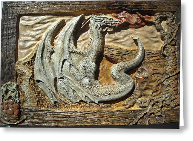 Fantasy Reliefs Greeting Cards - Fantasy Dragon Greeting Card by Doris Lindsey