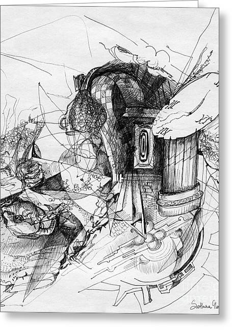 Ink Drawing Greeting Cards - Fantasy Drawing 3 Greeting Card by Svetlana Novikova