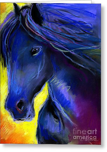 Horse Art Pastels Greeting Cards - Fantasy Friesian Horse painting print Greeting Card by Svetlana Novikova