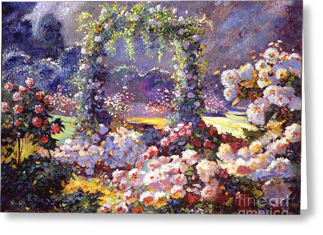 Rose Bushes Greeting Cards - Fantasy Garden Delights Greeting Card by David Lloyd Glover