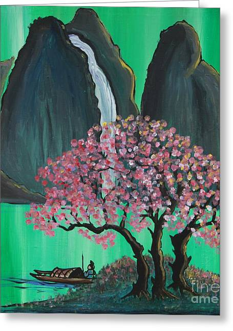 Cherry Blossoms Paintings Greeting Cards - Fantasy Japan Greeting Card by Jacqueline Athmann