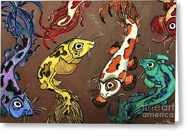 Fantasy Koi Greeting Card by Barbara Donovan