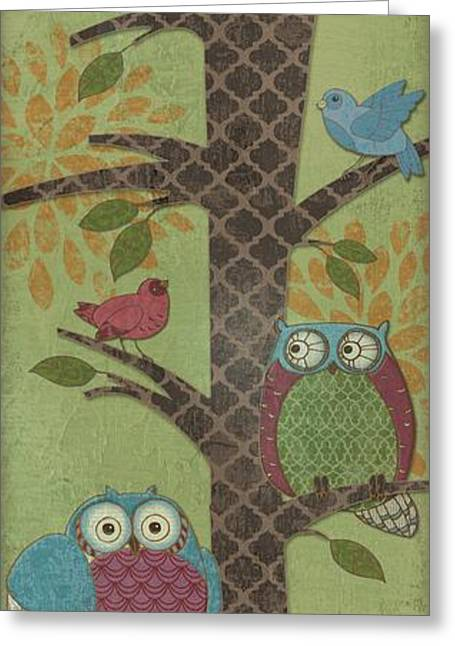 Fantasy Owls - Vertical I Greeting Card by Paul Brent