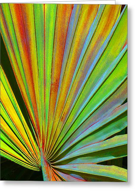 Coloured Greeting Cards - Fantasy Palm Leaf Abstract 2 Greeting Card by Margaret Saheed