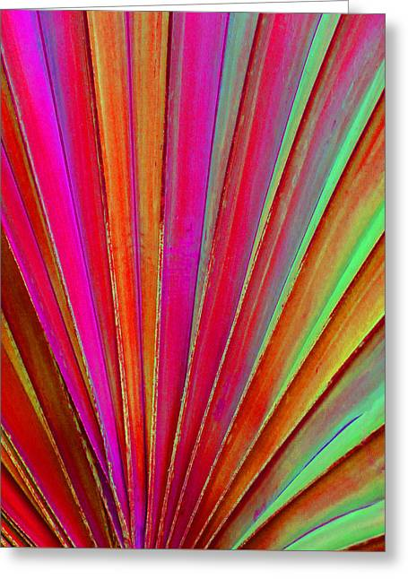 Coloured Greeting Cards - Fantasy Palm Leaf Abstract Greeting Card by Margaret Saheed