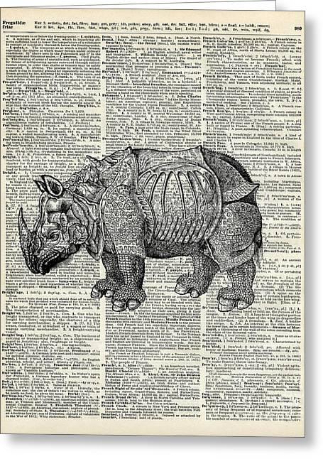 Art Book Greeting Cards - Fantasy steampunk Rhinoceros Greeting Card by Jacob Kuch