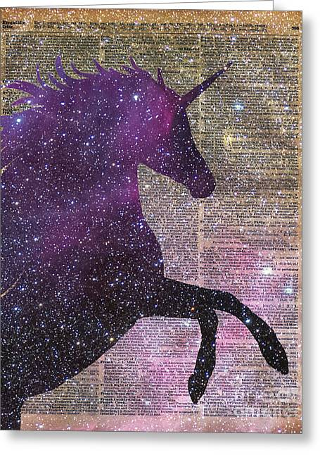 Freckles Greeting Cards - Fantasy Unicorn in the Space Greeting Card by Jacob Kuch