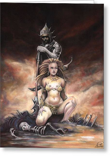 Queen Pastels Greeting Cards - Fantasy warrior queen. Greeting Card by Ole Hedeager Mejlvang