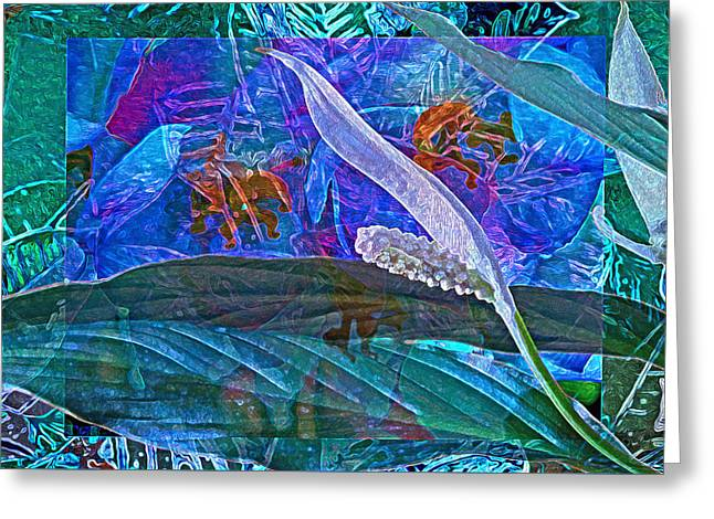 Fantasy With African Violets And Peace Lily 42 Greeting Card by Lynda Lehmann