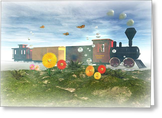 Boxcars Greeting Cards - Fantasyland Express Greeting Card by Carol and Mike Werner