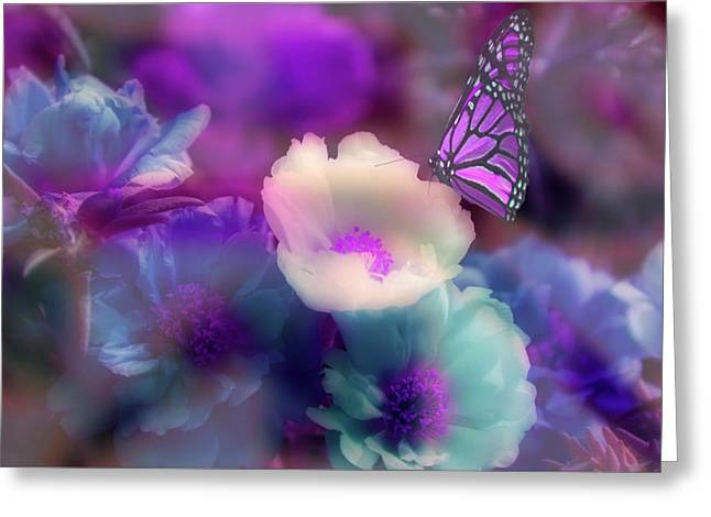 Butterfly Garden Greeting Cards - Fantasys Garden Greeting Card by Robin Webster