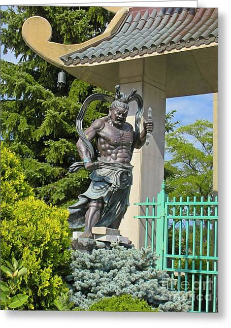 Asian Sculptures Greeting Cards - Far East Warrior Greeting Card by John Malone