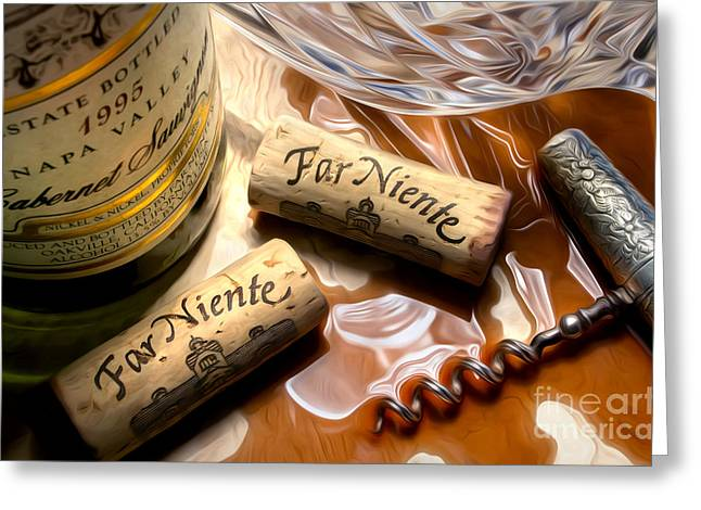 Cabernet Sauvignon Greeting Cards - Far Niente Uncorked Greeting Card by Jon Neidert