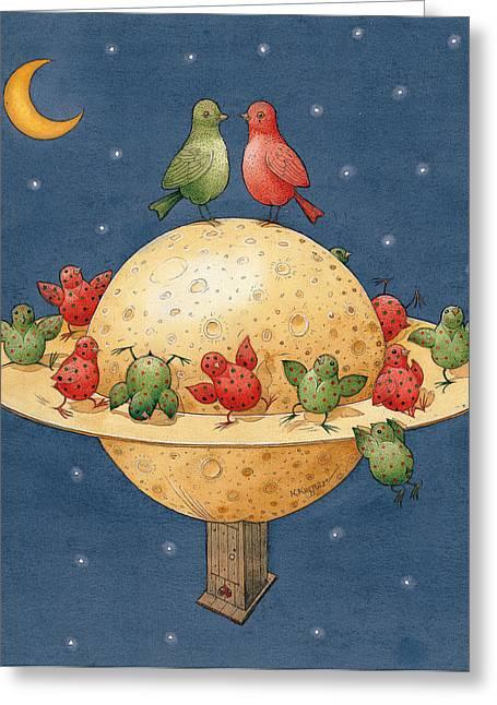 Love Bird Greeting Cards - Far Planet Greeting Card by Kestutis Kasparavicius