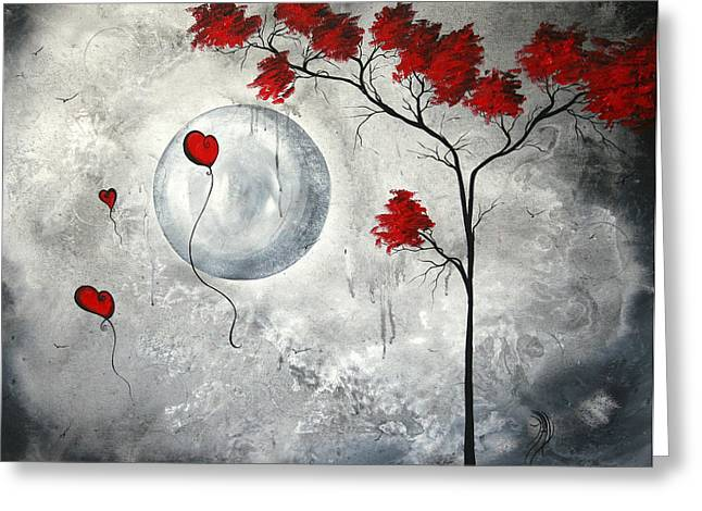 Leaves Paintings Greeting Cards - Far Side of the Moon by MADART Greeting Card by Megan Duncanson