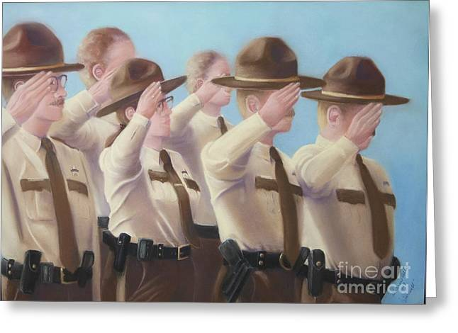 Police Pastels Greeting Cards - Farewell Greeting Card by Sharon Allen