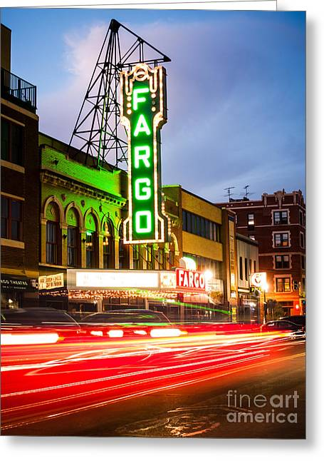 Glowing Greeting Cards - Fargo Theatre and Downtown Buidlings at Night Greeting Card by Paul Velgos