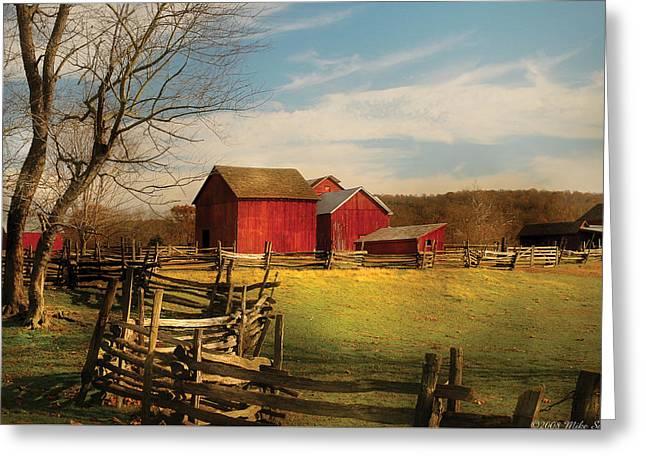 Farm - Barn - I Bought The Farm Greeting Card by Mike Savad