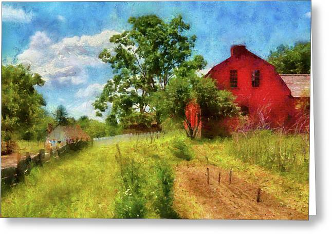 Village Life Greeting Cards - Farm - Barn -  Where the Farmer lives  Greeting Card by Mike Savad