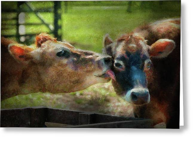 Smudge Greeting Cards - Farm - Cow - Let mommy clean that Greeting Card by Mike Savad