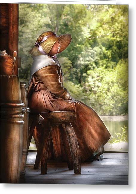 Long Sleeved Dress Greeting Cards - Farm - Farmer - Just Sitting Greeting Card by Mike Savad