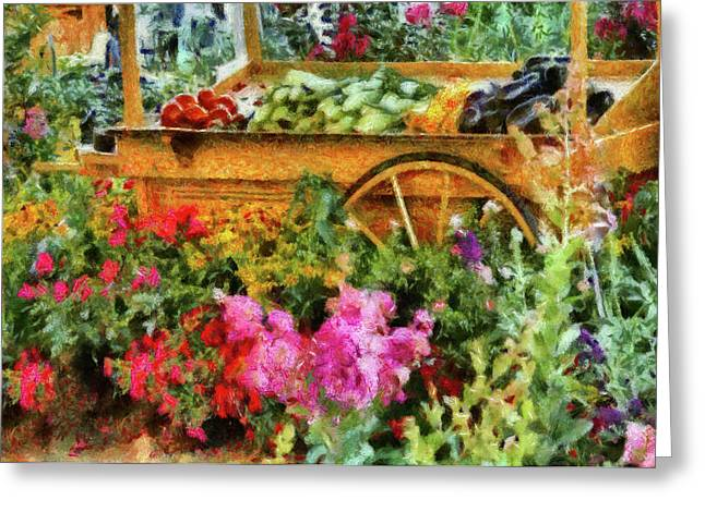 Farm - Food - At The Farmers Market Greeting Card by Mike Savad