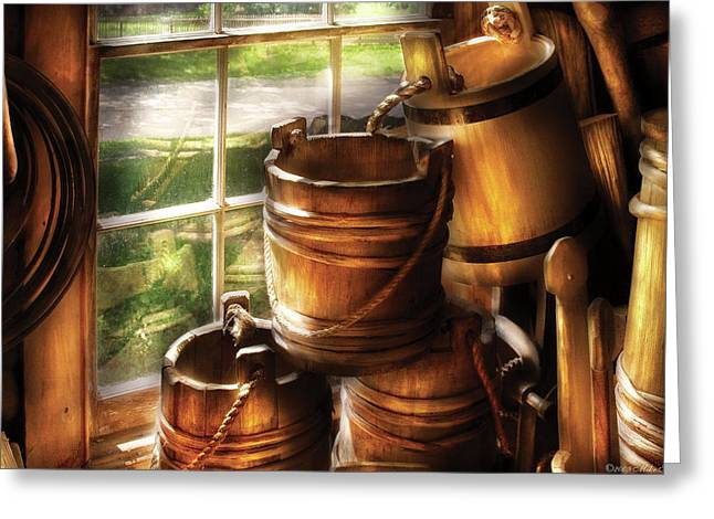 Farm Bucket Greeting Cards - Farm - Pail - A pile of pails Greeting Card by Mike Savad